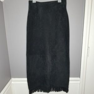Cedars | Vintage Suede Leather Long Fringe Skirt